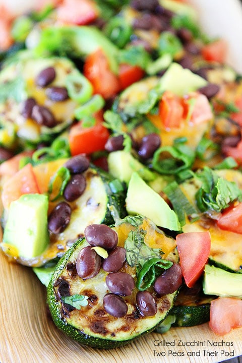 Grilled Zucchini Nachos on twopeasandtheirpod.com A great recipe for using up the summer zucchini!