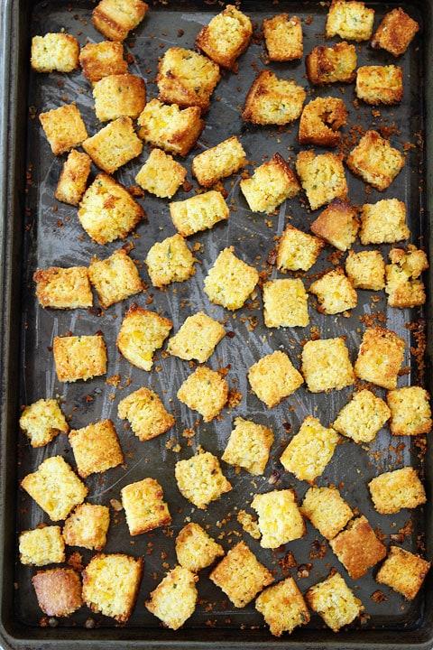 Jalapeño Cornbread Panzanella Salad on twopeasandtheirpod.com