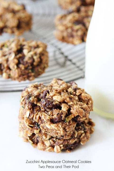 Zucchini Applesauce Oatmeal Cookie Recipe on twopeasandtheirpod.com