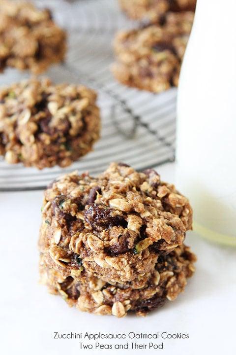 Zucchini Applesauce Oatmeal Cookies | Zucchini Cookie Recipe | Two ...
