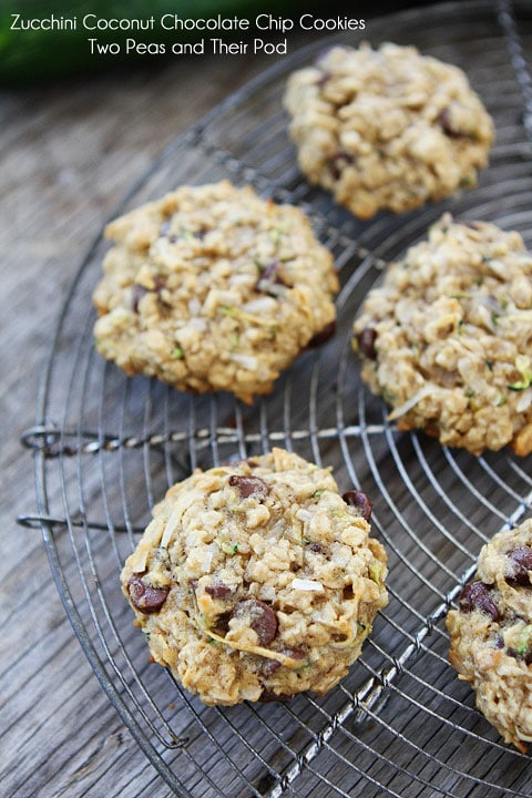 Zucchini Coconut Chocolate Chip Cookies on twopeasandtheirpod.com