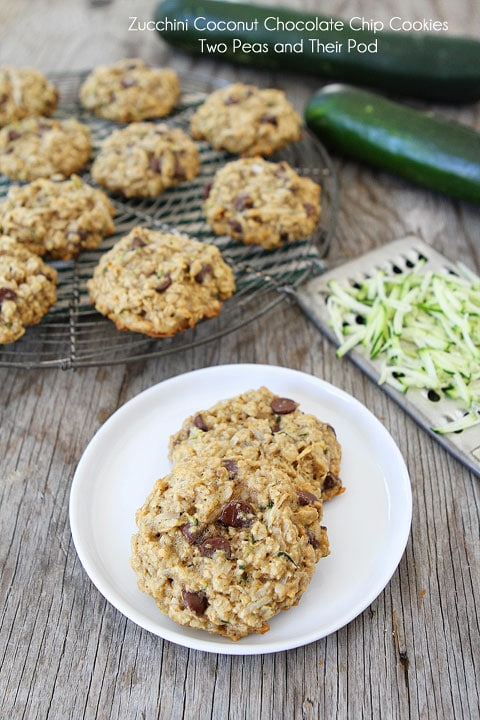 Zucchini Coconut Chocolate Chip Cookie Recipe on twopeasandtheirpod.com