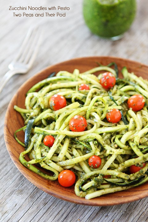 Zucchini Noodles with Pesto Recipe | www.twopeasandtheirpod.com