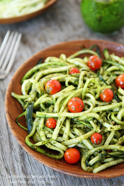 Zucchini Noodles with Pesto Recipe on twopeasandtheirpod.com