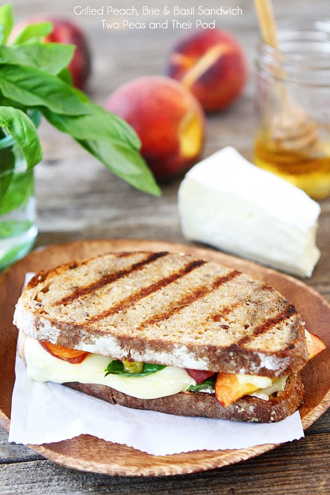 Grilled Peach, Brie, & Basil Sandwich Recipe on twopeasandtheirpod.com