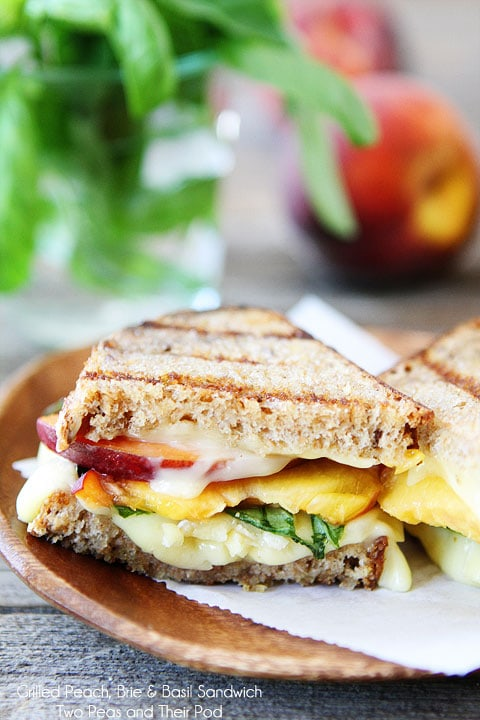 Grilled Peach, Brie & Basil Sandwich | Grilled Brie Sandwich | Two ...