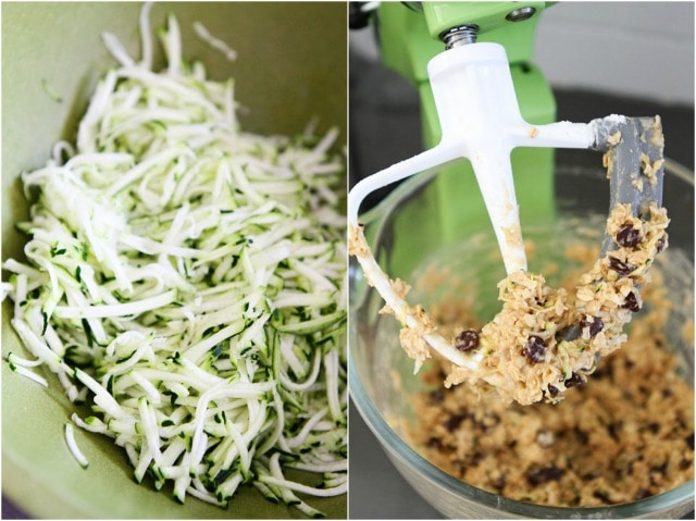 Zucchini Coconut Chocolate Chip Cookies on twopeasandtheirpod.com A great way to use up the summer zucchini!
