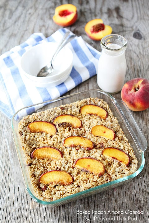 Baked Peach Almond Oatmeal on twopeasandtheirpod.com #recipe