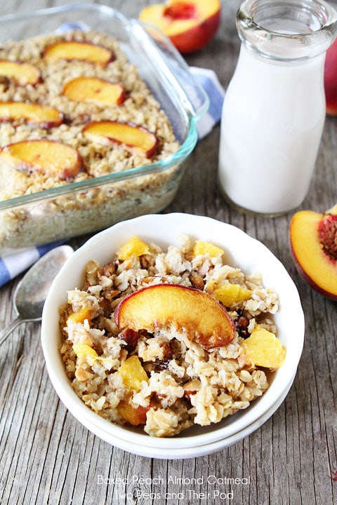 Baked Peach Almond Oatmeal Recipe on twopeasandtheirpod.com