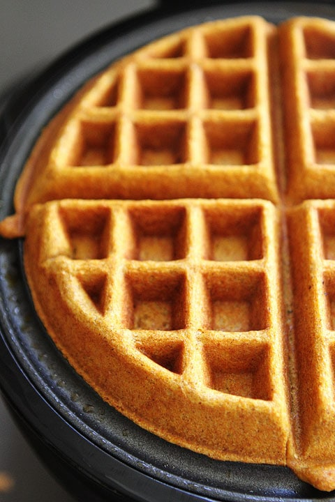 Brown Butter Pumpkin Waffle Recipe on twopeasandtheirpod.com