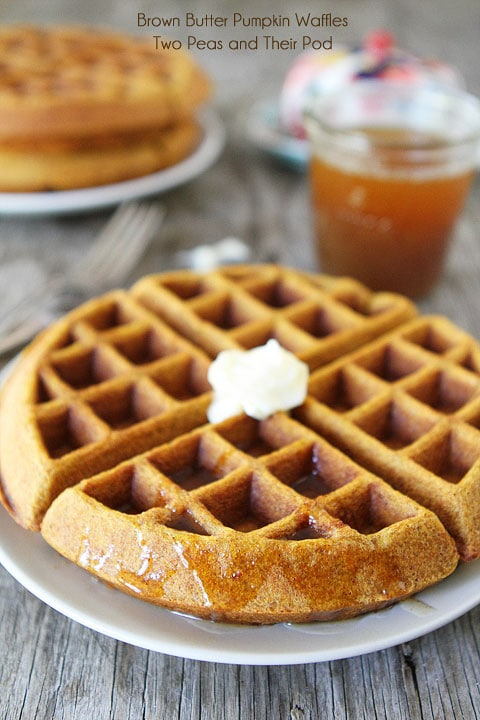 Brown Butter Pumpkin Waffle Recipe on twopeasandtheirpod.com These waffles are amazing!