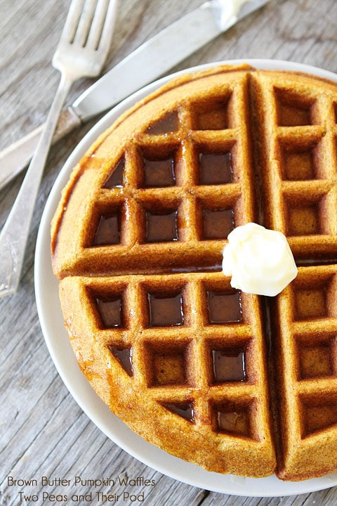 Brown Butter Pumpkin Waffle Recipe on twopeasandtheirpod.com A must make for Fall!