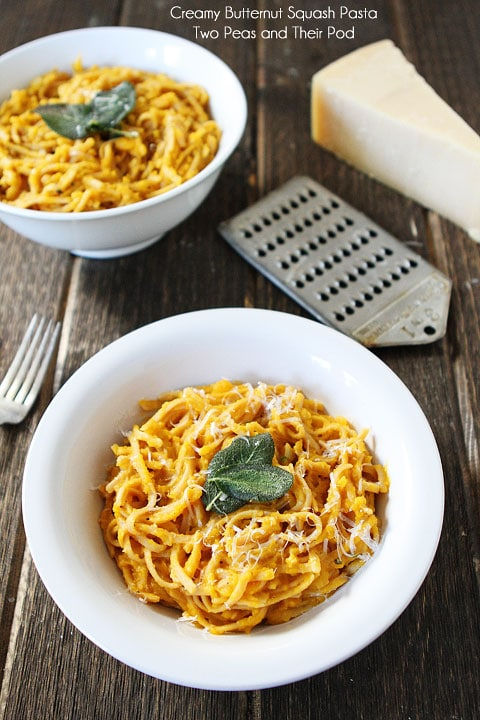 Creamy Butternut Squash Whole Wheat Pasta Recipe from twopeasandtheirpod.com