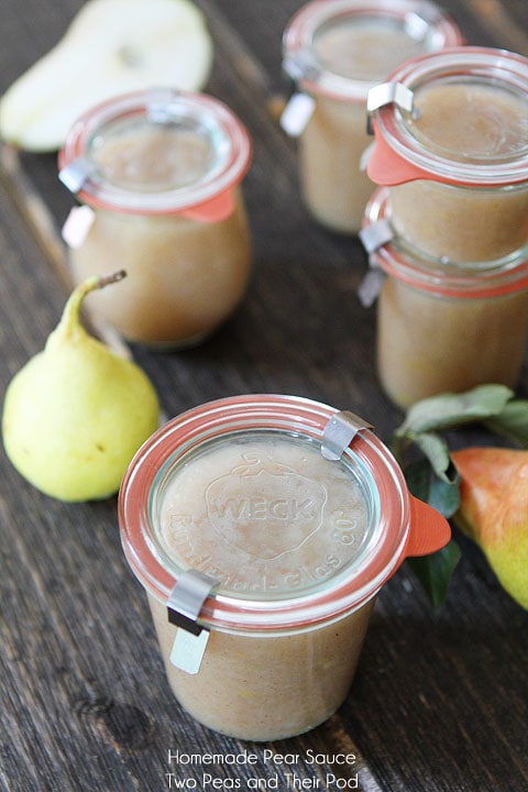 Recipe for Easy Homemade Pear Sauce on twopeasandtheirpod.com #recipe