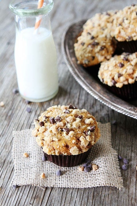 Pumpkin Toffee Chocolate Chip Muffins on twopeasandtheirpod.com  Breakfast or dessert? These are good anytime of the day!