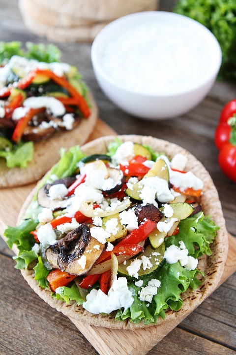 Roasted Vegetable Pita Sandwiches on twopeasandtheirpod.com An easy and healthy meal! #recipe