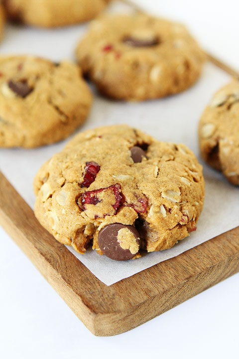 Healthy Almond Cranberry Oatmeal Cookies on twopeasandtheirpod.com You will never know these cookies are healthy! They are SO good!