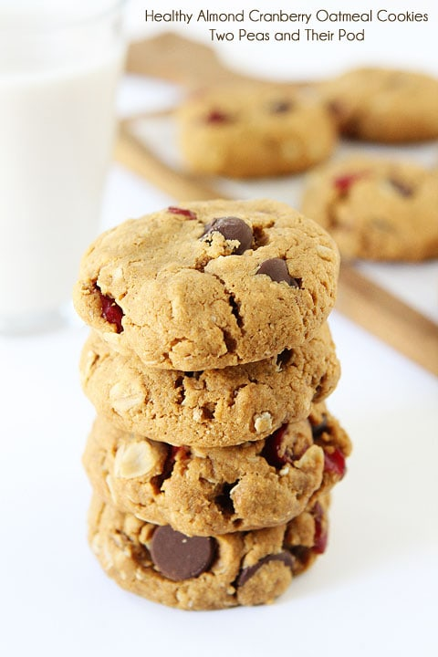 Healthy Almond Cranberry Oatmeal Cookies on twopeasandtheirpod.com We LOVE these vegan cookies!