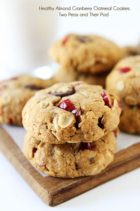 Healthy Almond Cranberry Oatmeal Cookies | Vegan Cookies | Two Peas ...