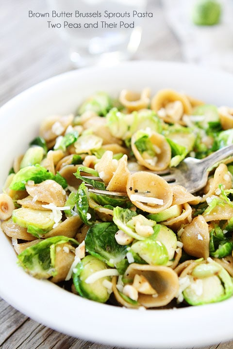 Brown Butter Brussels Sprouts Pasta with Hazelnuts Recipe on twopeasandtheirpod.com Seriously the best pasta dish ever!