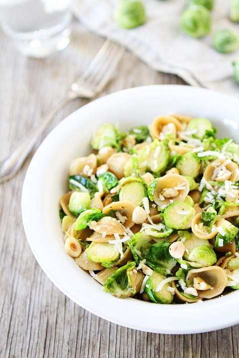 Brown Butter Brussels Sprouts Pasta with Hazelnuts Recipe on twopeasandtheirpod.com I could eat this pasta every single day!