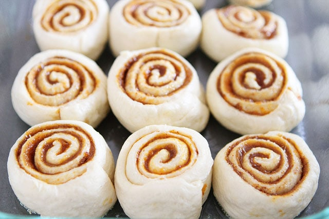 Recipe for Easy Mini Pumpkin Cinnamon Rolls on twopeasandtheirpod.com