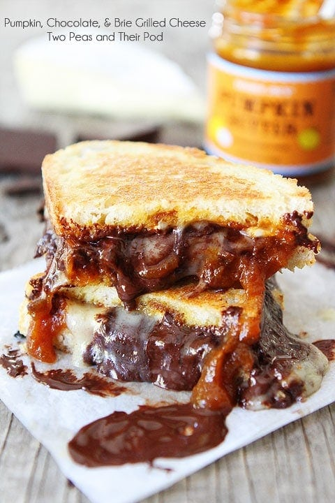 Pumpkin, Chocolate, and Brie Grilled Cheese-this sandwich is pure ...