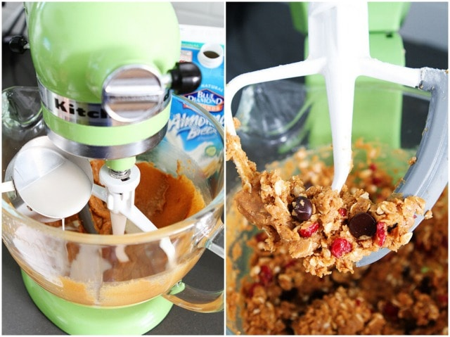 Recipe for Healthy Almond Cranberry Oatmeal Cookies on twopeasandtheirpod.com