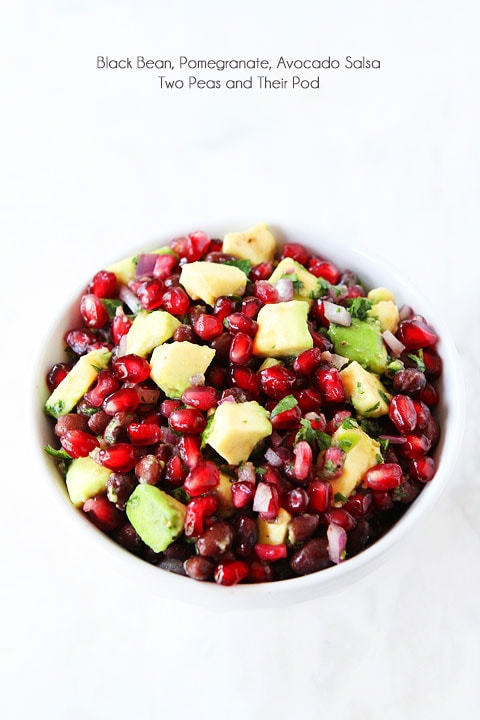 Black Bean, Pomegranate, and Avocado Salsa Recipe on twopeasandtheirpod.com LOVE this healthy salsa!