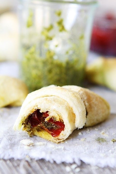 Pesto, Roasted Red Pepper, and Cheese Crescent Rolls on twopeasandtheirpod.com Perfect recipe for the holidays!