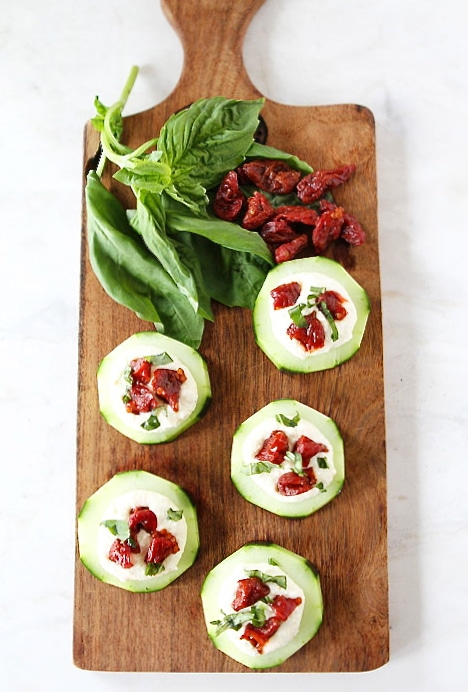 Cucumber Canapés with Whipped Feta, Sun-Dried Tomatoes and Basil on ...