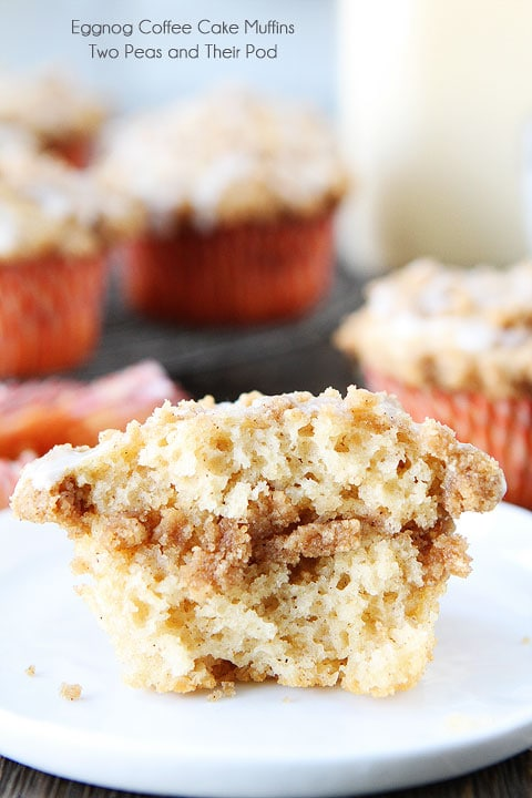 Eggnog Coffee Cake Muffins Recipe on twopeasandtheirpod.com Love everything about these muffins!