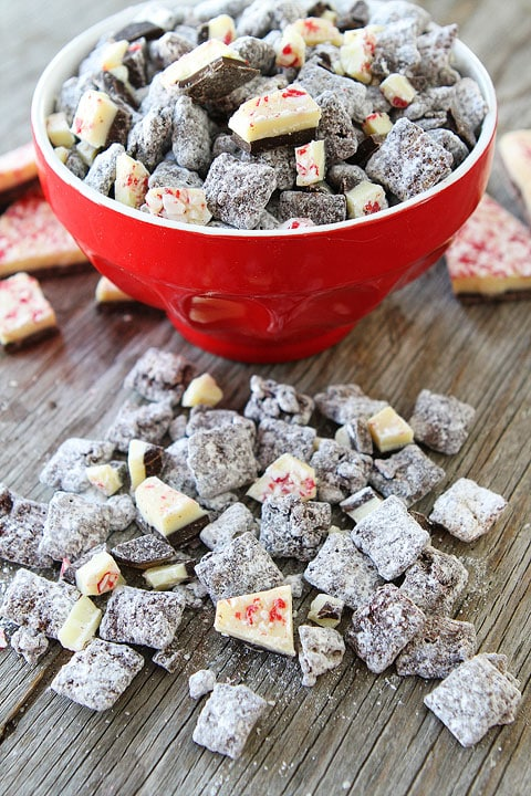 Peppermint Bark Chex Mix Recipe on twopeasandtheirpod.com Perfect treat for holiday movies and parties!