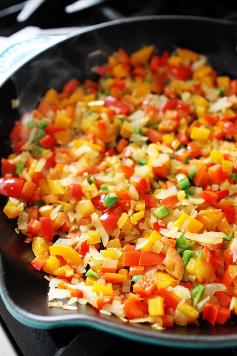 Black Bean and Quinoa Enchilada Bake Recipe on twopeasandtheirpod.com