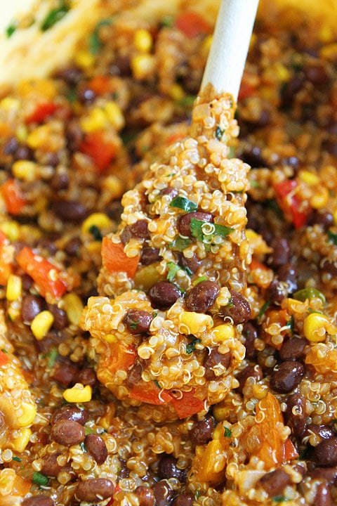 Easy Black Bean and Quinoa Enchilada Bake Recipe on twopeasandtheirpod.com Love this healthy meal!