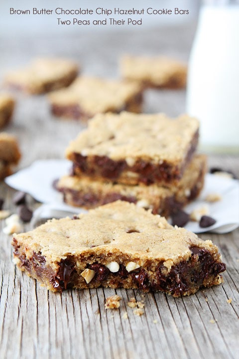 chocolate brown butter chocolate chip hazelnut cookie bars two peas ...