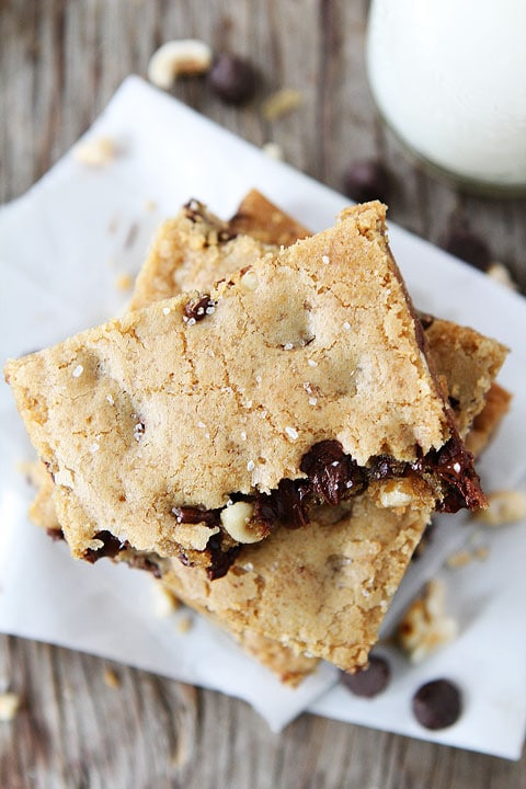 Brown Butter Chocolate Chip Hazelnut Cookie Bars | Two Peas & Their ...