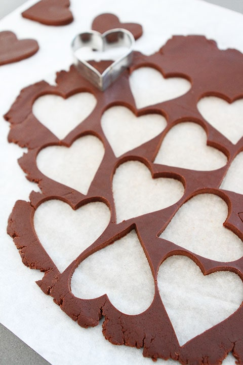 Chocolate Shortbread Heart Cookies on twopeasandtheirpod.com Easy to make!