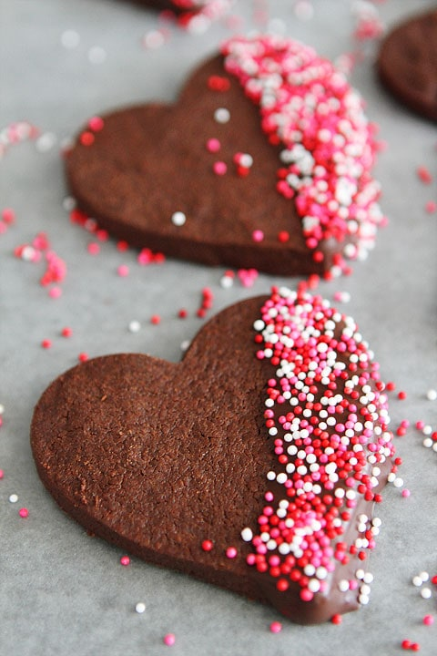 Chocolate Shortbread Heart Cookies on twopeasandtheirpod.com Surprise your Valentine with these divine cookies!