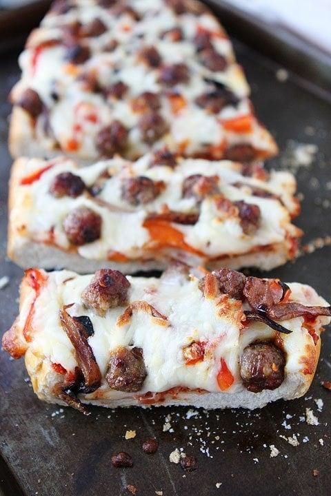 French Bread Pizza Recipe on twopeasandtheirpod.com