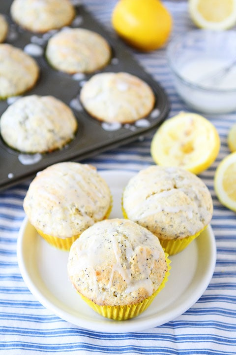 Lemon Poppy Seed Muffins Recipe on twopeasandtheirpod.com These muffins will brighten your day!