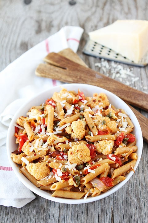 Penne with Roasted Cauliflower and Lemon Vinaigrette Recipe on twopeasandtheirpod.com Love this healthy pasta dish!