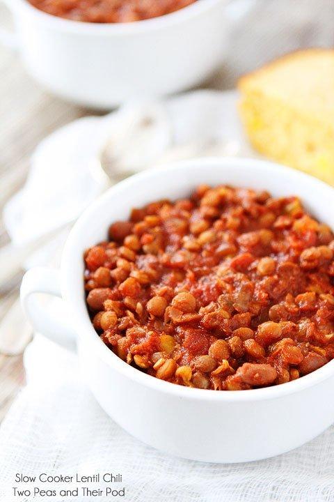 Slow Cooker Lentil Chili | Crockpot Lentil Chili Recipe | Two Peas ...