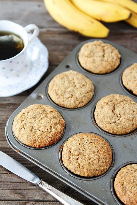 Whole Wheat Banana Muffin Recipe on twopeasandtheirpod.com Love these healthy muffins!