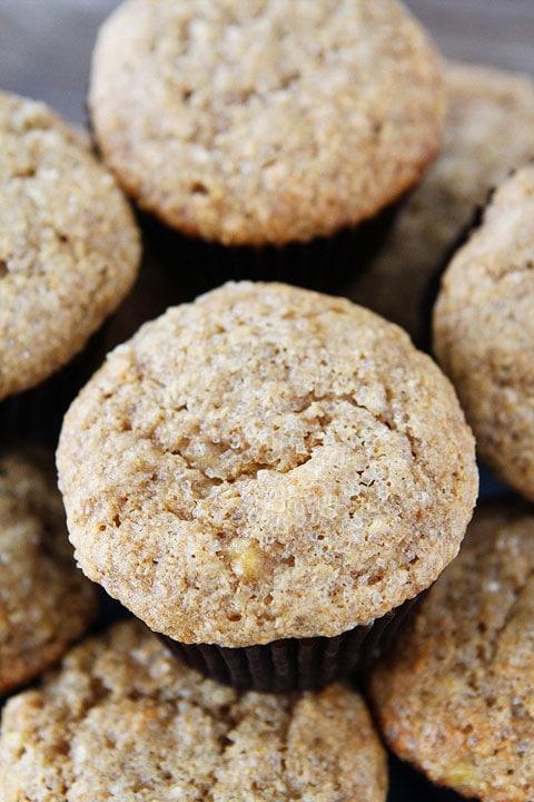 Whole Wheat Banana Muffin Recipe on twopeasandtheirpod.com An easy and healthy breakfast treat!