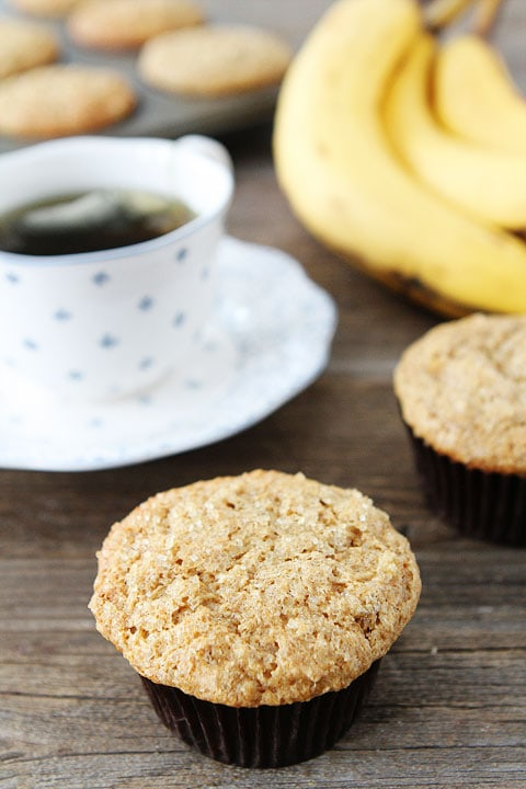 Whole Wheat Banana Muffin Recipe on twopeasandtheirpod.com