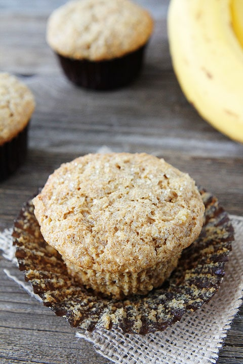 Easy Whole Wheat Banana Muffin Recipe on twopeasandtheirpod.com