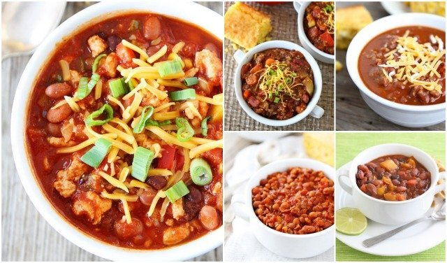 5 Chili Recipes for Super Bowl Sunday on twopeasandtheirpod.com The very best chili recipes!