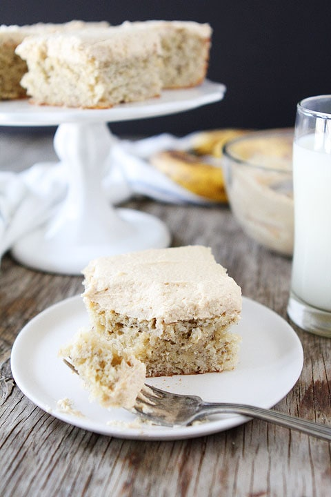 Banana Cake Recipe | Banana Bars with Peanut Butter Frosting | Two ...