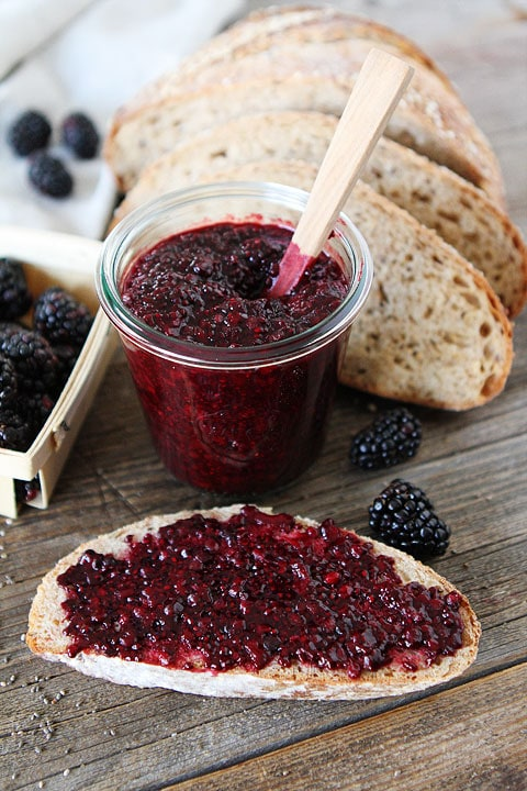 Blackberry Chia Seed Jam Recipe on twopeasandtheirpod.com This jam is SO easy and so good!
